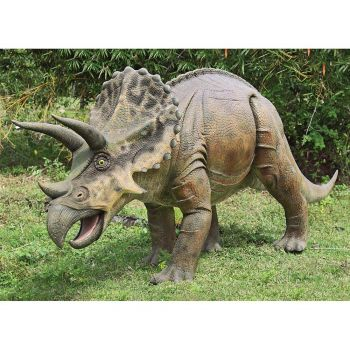 14 Foot Life-Size, Life-Like Triceratops Statue Model