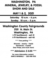 2017 Washingnton, PA Gem, Mineral, Jewery & Fossil Show May 6-7, 2017